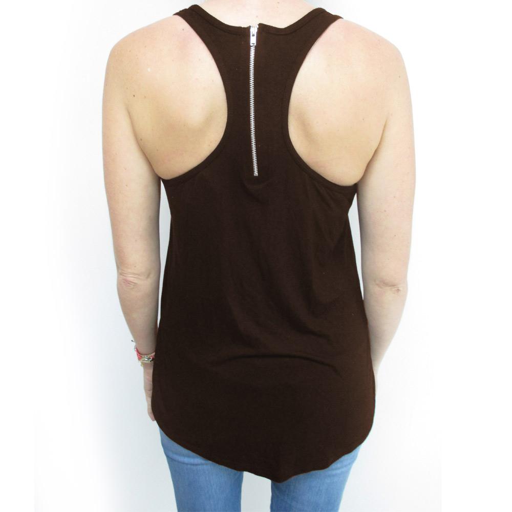 3050f492608e9 AllTopBargains - Fashion Womens Flowy Sexy Loose Racerback Sleeveless Basic  Tank Top Brown S M L - Walmart.com