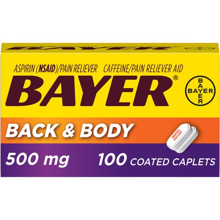 Bayer Back & Body Extra Strength Pain Reliever Aspirin w Caffeine, 500mg Coated Tablets, 100