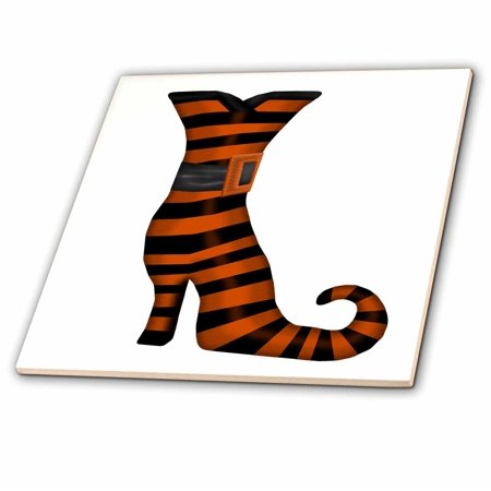 3dRose Halloween Witches Boot In Orange and Black Stripes - Ceramic Tile, 8-inch - Witch In Halloween
