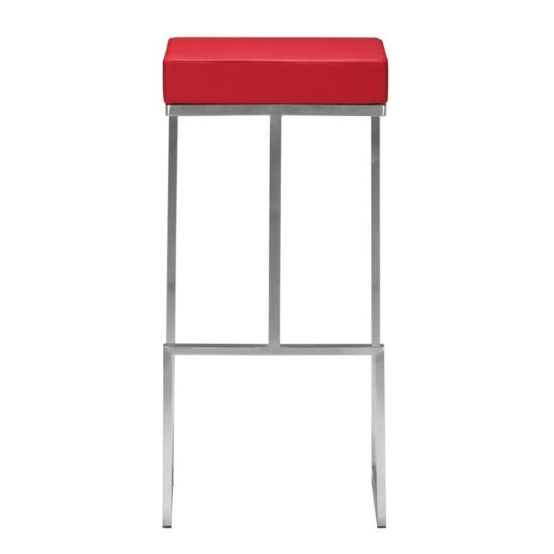 Zuo Darwen Modern Leatherette Bar Chair In Red Set Of 2