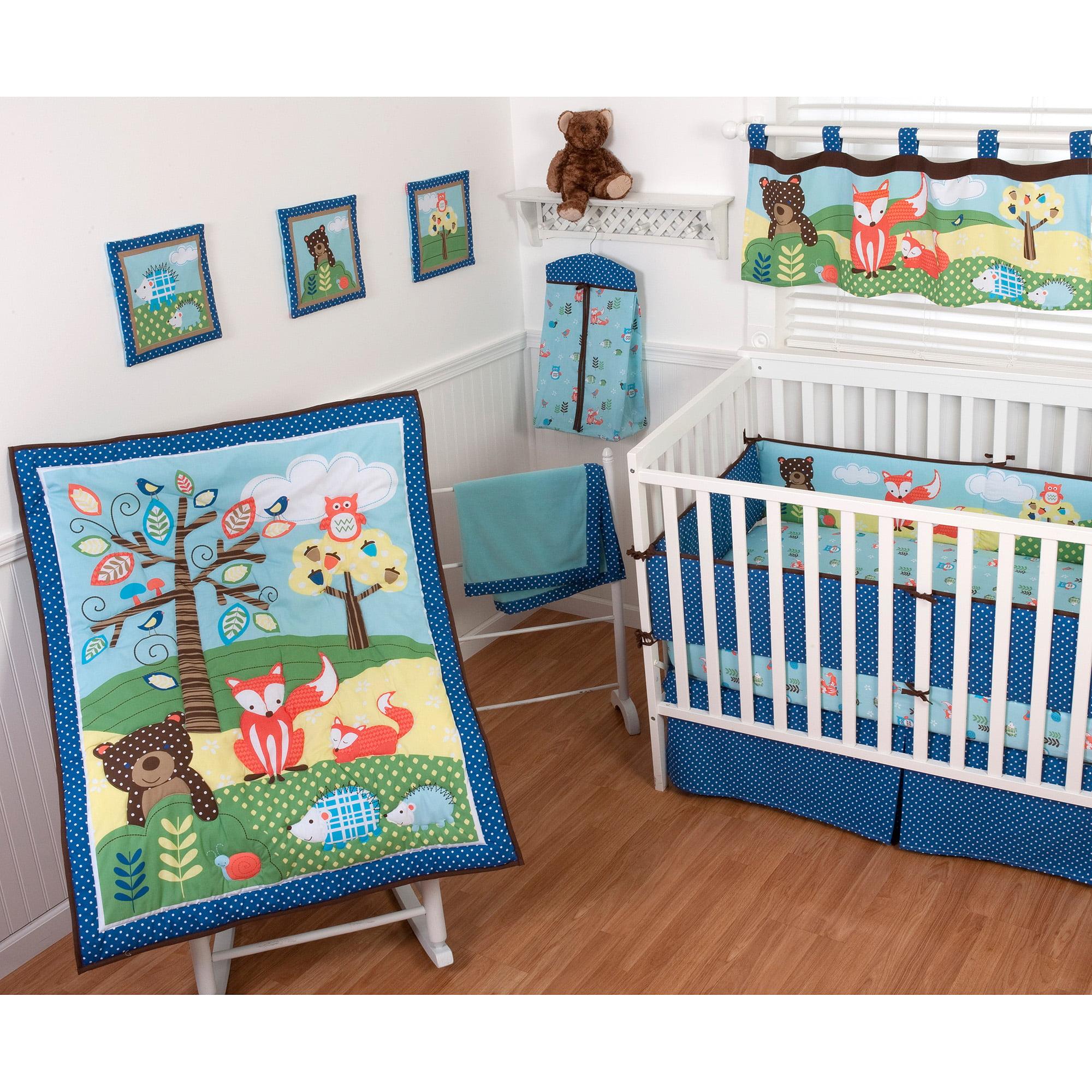 Sumersault Foxy Friends 9 Piece Nursery In A Bag Crib Bedding Set With Bonus Per