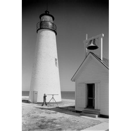 Maryland Lighthouses - Cove Point Lighthouse, Maryland Print Wall Art By A. Aubrey Bodine
