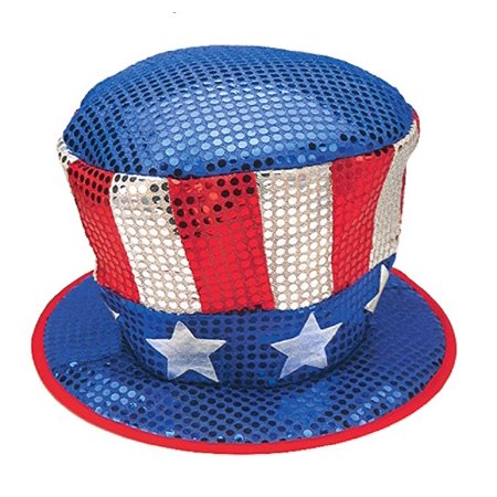 Shiny Uncle Sam Top Hat Sequin Glitter Red White Blue Patriotic Stars Costume