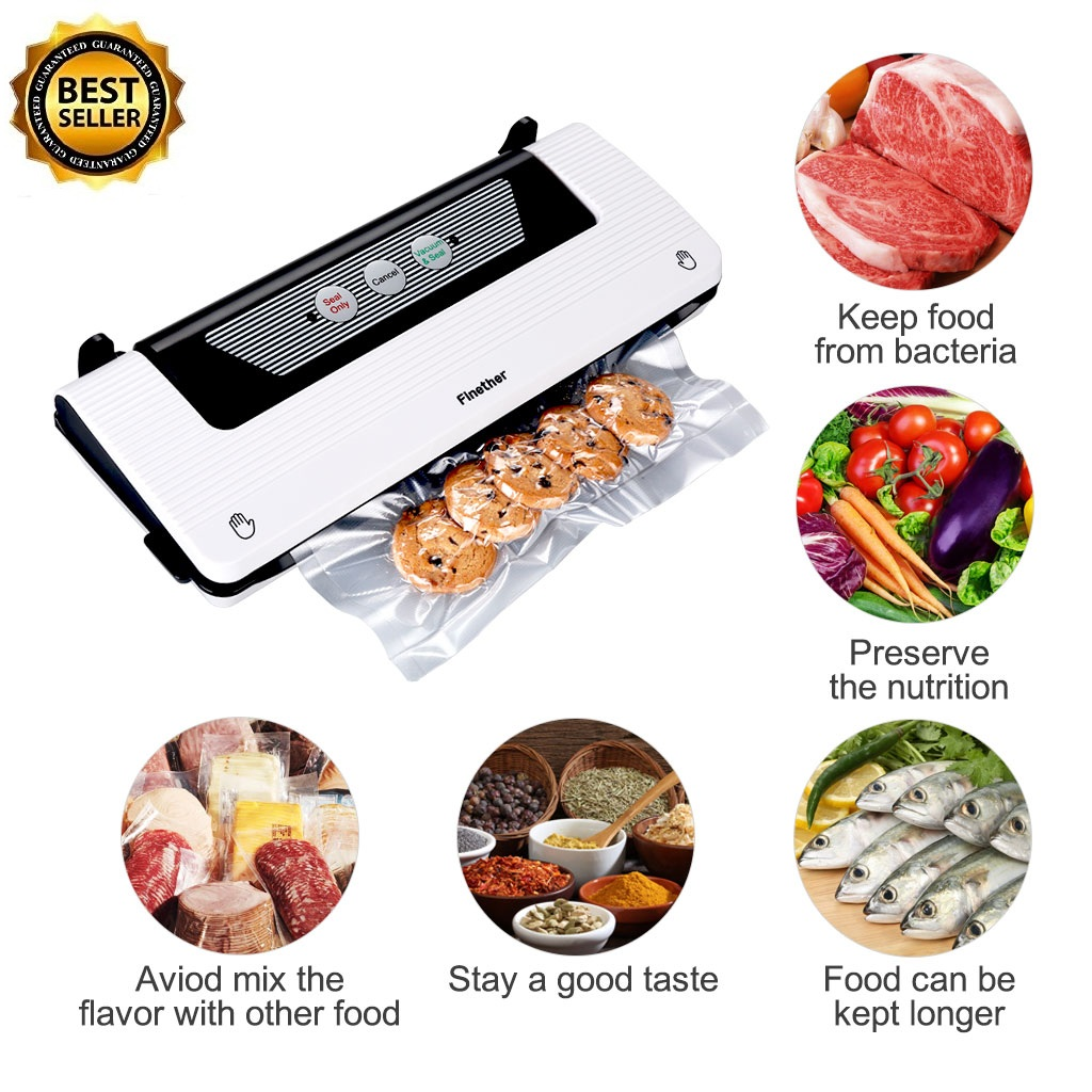 Finether 9937 2-in-1 Vacuum Sealer Machine with Automatic Bag Detection and Starter Kit | Safety Certified | white