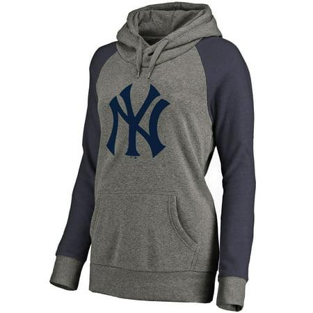 - New York Yankees Women's Primary Logo Raglan Sleeve Tri-Blend Pullover Hoodie - Ash