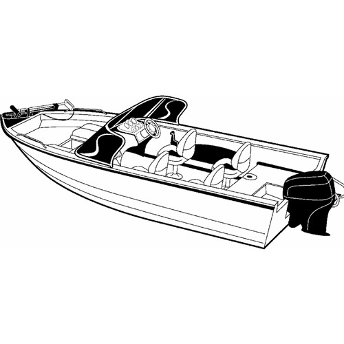 Carver Styled-To-Fit Boat Cover for Aluminum V-Hull Fishing Boats with Walk-Thru Windshield, Wide Series