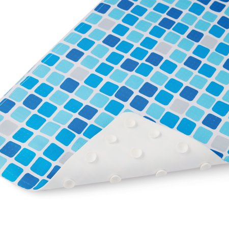 "Mainstays 15.75"" x 27"" Blue Tiles Printed Tub Mat"