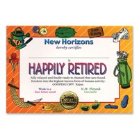"""Pack of 6 Whimsical """"Happily Retired"""" Certificates 5"""" x 7"""""""