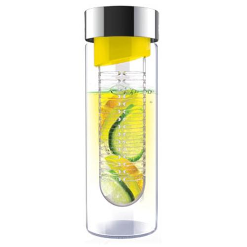 Ad-N-Art SWG11-YELLOW/SILVER Flavour It-Glass Water Bottle Fruit Infuser in Yellow/Silver