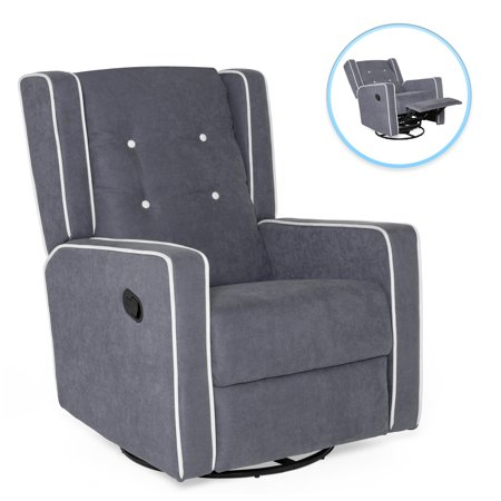 Best Choice Products Mid-Century Modern Tufted Upholstered Swivel Recliner Lounge Rocking Chair for Nursery, Home, Living Room, Study w/ 360-Degree Swivel Base, Full Recline - Gray - Full Leather Recliner