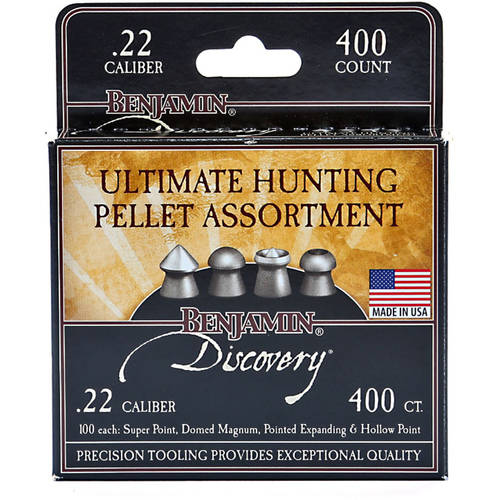 Benjamin Precision Hunting Ammo Assortment .22 Caliber 14.3gr Airgun Pellets, 400ct
