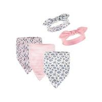 Hudson Baby Newborn Girl Bandana Bibs & Headbands Set, 5pc