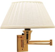 Swing Arm Wall Lamp , Maximum One 150 Watt Three Way Incandescent Medium Base Bulb, Polished Brass With White Shade