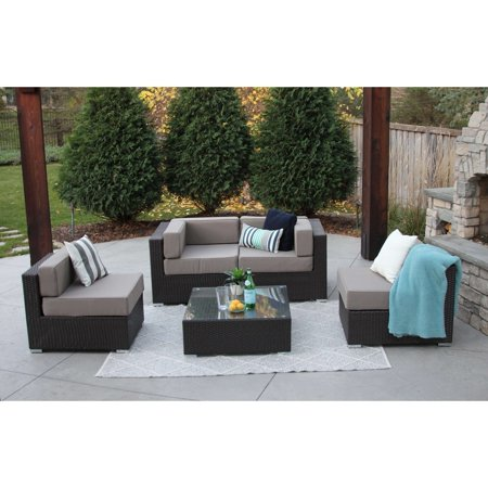 Selby 5 Pc Modern Outdoor Rattan Patio Furniture Sofa Set Modular