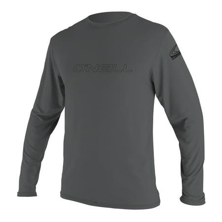 O'NEILL MEN'S BASIC SKINS 50+ LONG SLEEVE SUN SHIRT Smoke (Black Short Sleeve Wetsuit)