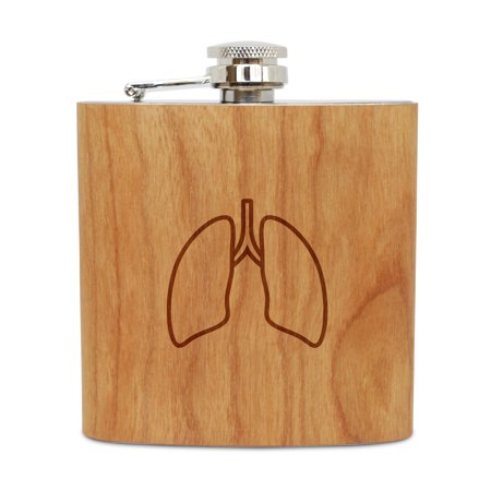 Lungs 6 Oz Wooden Flask (Cherry), Stainless Steel Body, Handmade In Usa