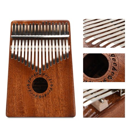 Ejoyous Portable 17 Key Wood Kalimba Thumb Piano Mbira Traditional Musical Instrument, Finger Piano, Wood Kalimba