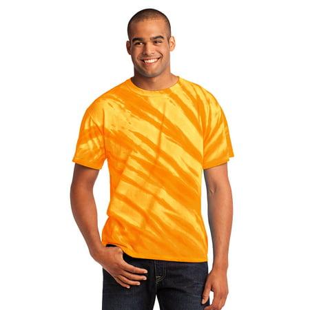Port & Company Essential Tiger Stripe Tie-Dye Tee. Gold. -