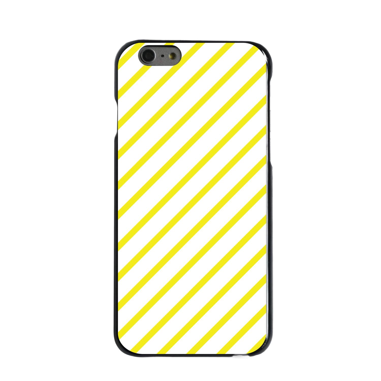 "CUSTOM Black Hard Plastic Snap-On Case for Apple iPhone 6 PLUS / 6S PLUS (5.5"" Screen) - Yellow & White Diagonal Stripes"