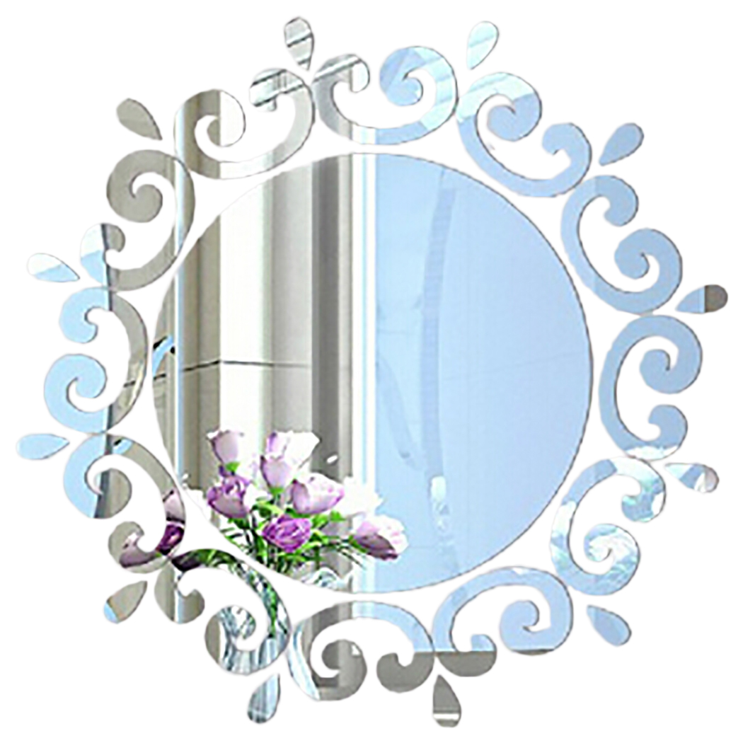 Outgeek Wall Stickers Decals Creative 3D Acrylic Mirror Stickers Removable Decorative Wall Art Decal Decoration for Bedroom Bathroom Home Dorm Wall Decor