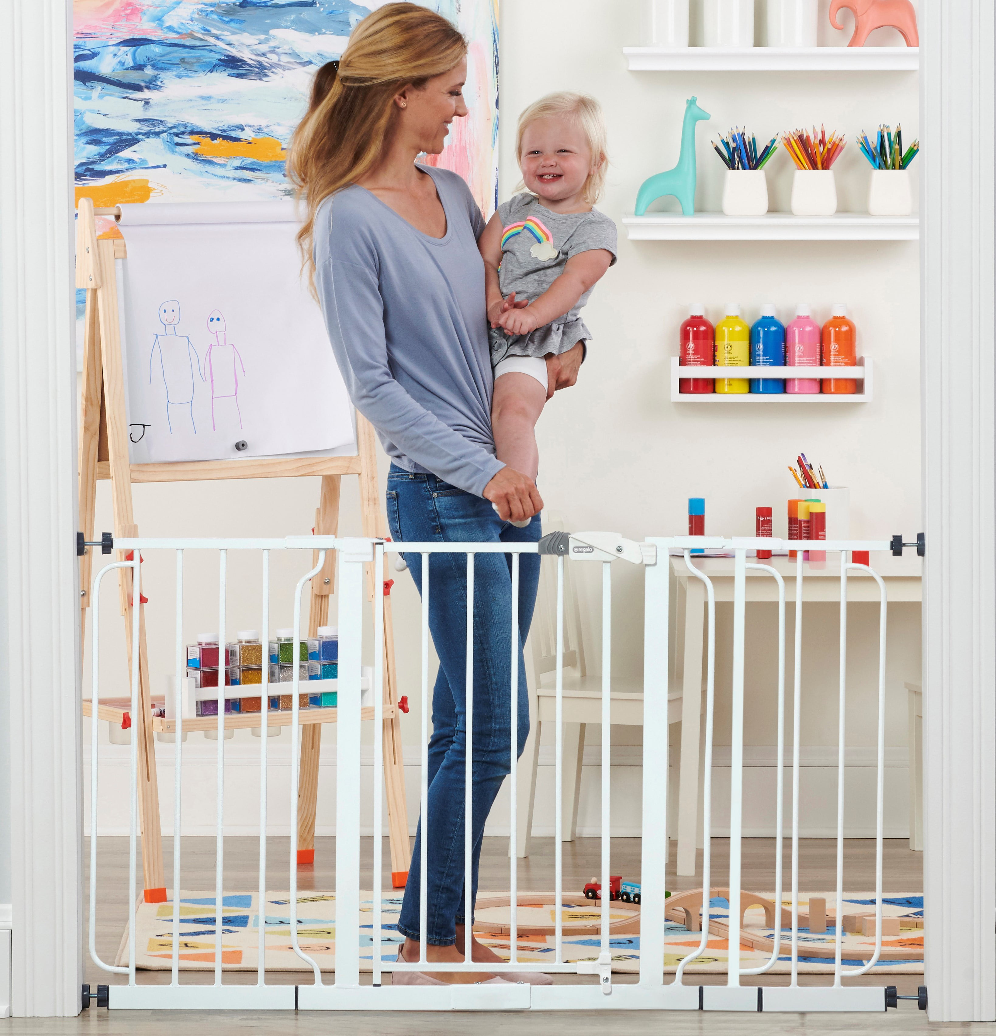 Bonus Kit Includes 6-Inch Extens Regalo Easy Step 39-Inch Extra Wide Baby Gate
