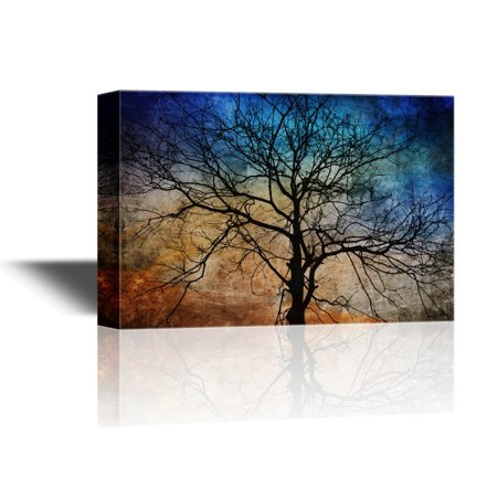 wall26 - Canvas Wall Art - Black Tree Branches on Abstract Colorful Background - Gallery Wrap Modern Home Decor | Ready to Hang - 32x48