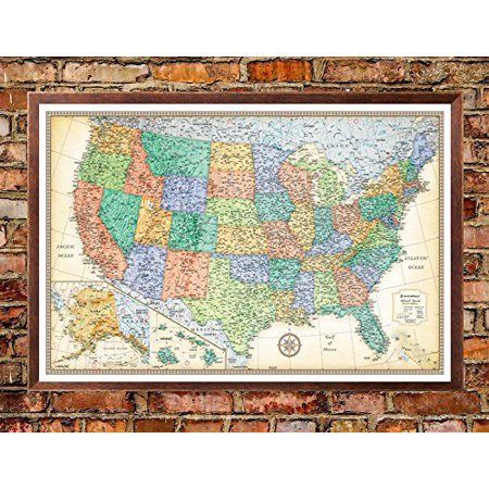 32X50 Rand Mcnally United States Usa Classic Push Pin Travel Wall Map Foam Board Mounted Or Framed  Walnut Framed