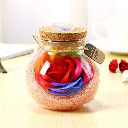 Glass Flower Tubes - Marsin Handmade Valentine's Day Gifts Preserved Rose Flower in Glass Dome w/ LED Lights