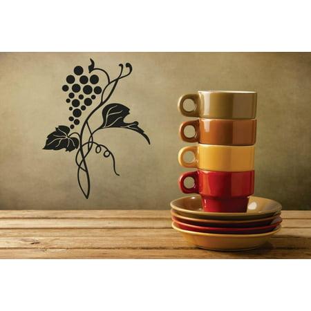 Custom Wall Decal Vinyl Sticker : Grapes Vine Fruit Kitchen Image Mural 12x12