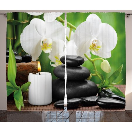 Spa Decor Curtains 2 Panels Set, Zen Hot Massage Stones with Orchid Candles and Magnificent Nature , Window Drapes for Living Room Bedroom, 108W X 84L Inches, Black White and Green, by Ambesonne