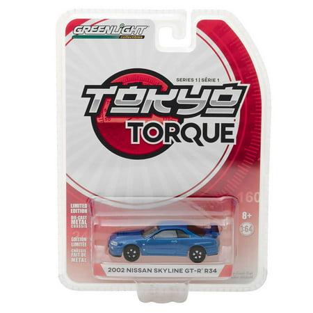 GL Tokyo Torque: 2002 Nissan Skyline GT-R R34 (Blue) 1/64 Scale