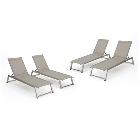 Santa Monica Outdoor Mesh Chaise Lounge with Aluminum Frame, Set of ...