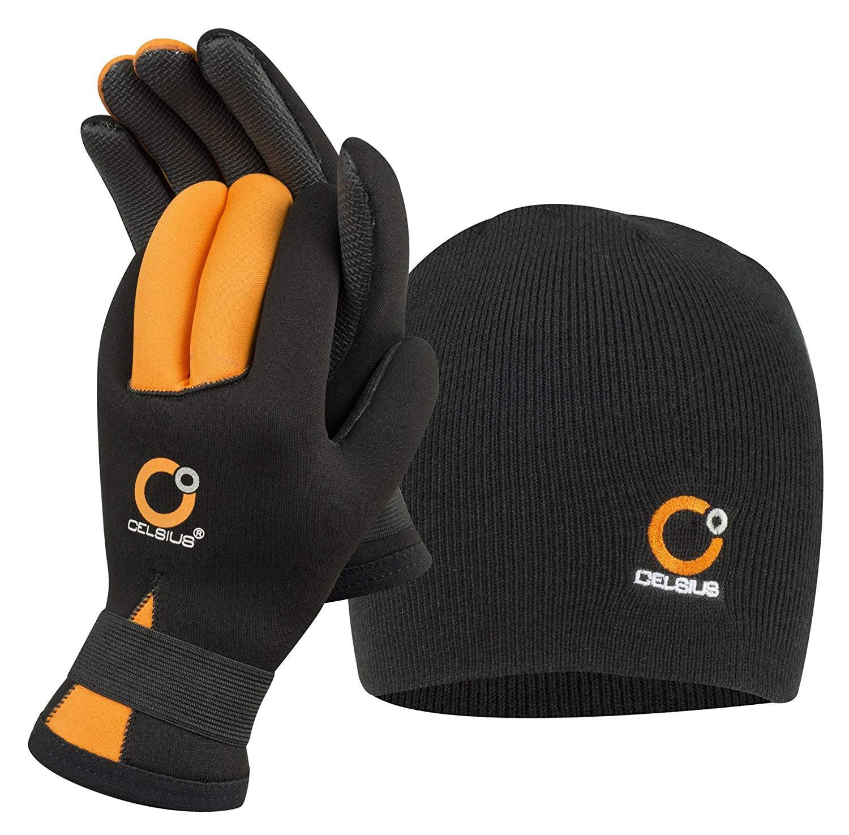 Celsius Deluxe Neoprene Large NG-HAT/L Glove/Hat Combo Waterproof/Velcro Wrist