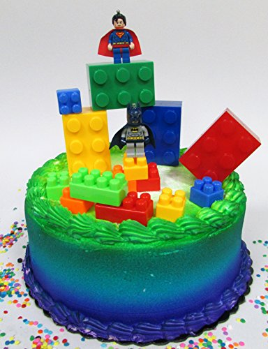 Super Hero LEGO BATMAN Birthday Cake Topper Set Featuring Figures