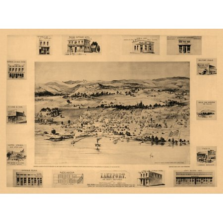 Old Map Of Lakeport California 1888 Lake County Stretched Canvas
