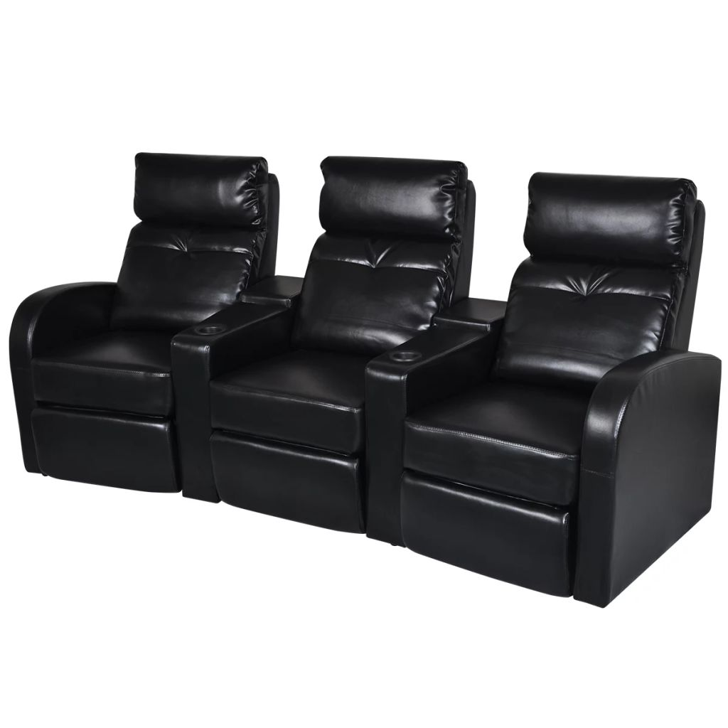 Artificial Leather 3-Seat Home Theater Recliner Sofa