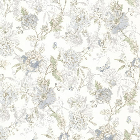 Brewster Beecroft Blue Butterfly Peony Trail Wallpaper (Pink Striped Wallpaper Border)