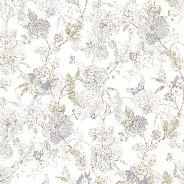 Beecroft Blue Butterfly Peony Trail Wallpaper
