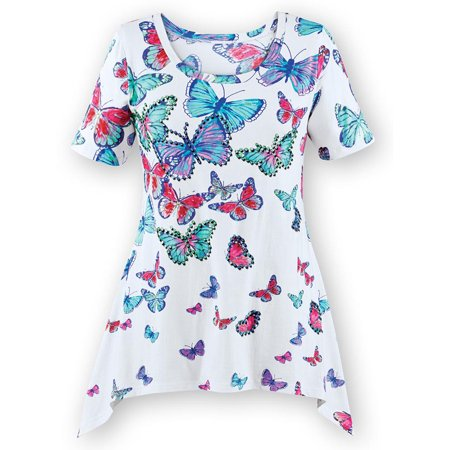 Beautiful Sequins (Women's Beautiful Butterfly Sharkbite Tunic Top with Sparkling Sequins and Scooped Neckline, Large, White Multi )