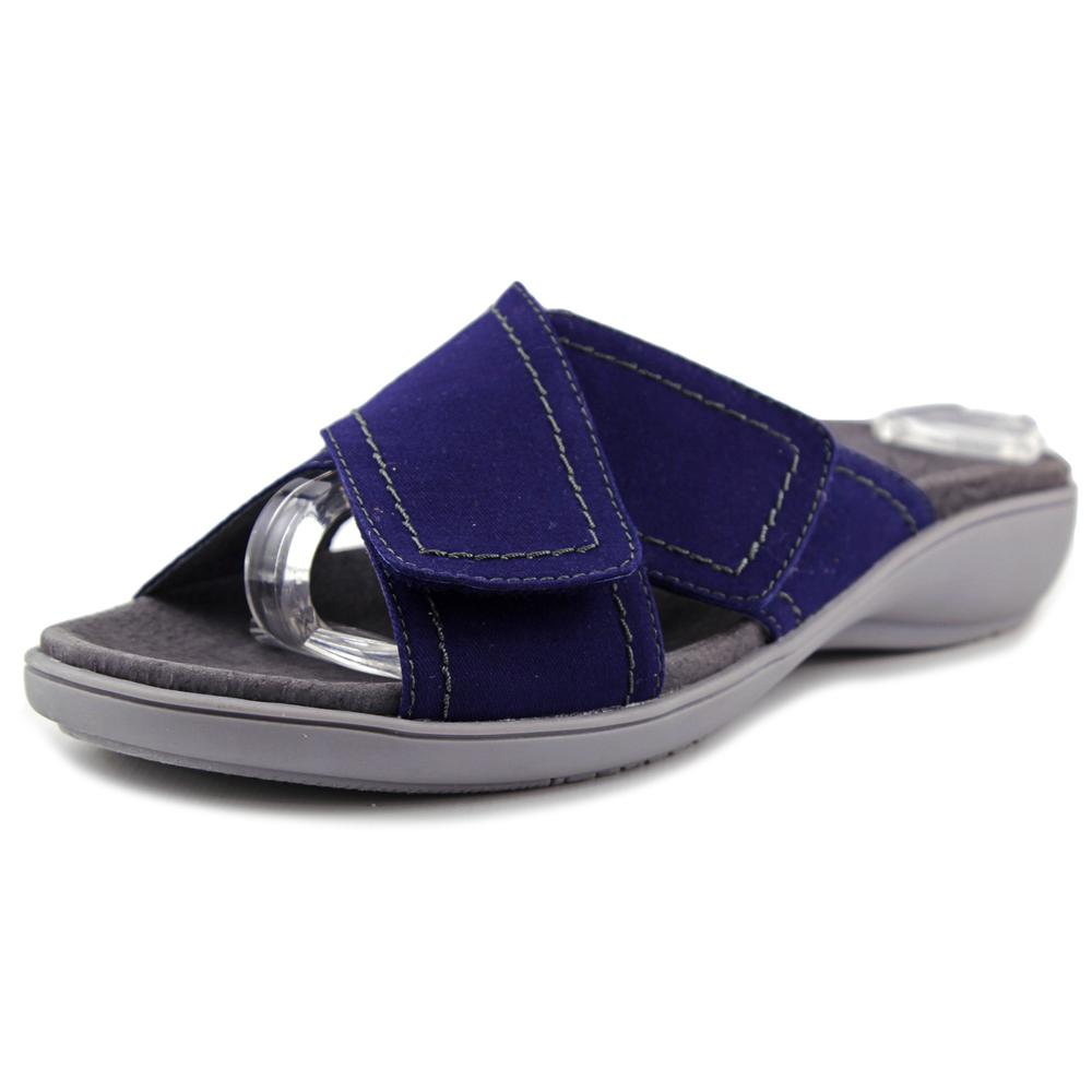 Trotters Getty Women N S Open Toe Canvas Blue Slides Sandal by Trotters