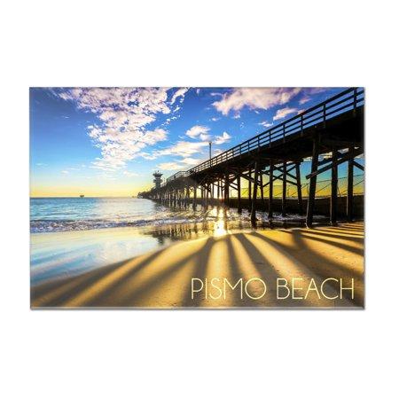 Pismo Beach, California - Pier at Sunset - Lantern Press Photography (12x8 Acrylic Wall Art Gallery Quality)