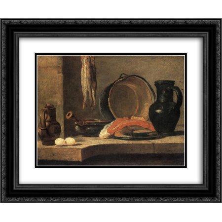 Jean Baptiste Simeon Chardin 2x Matted 24x20 Black Ornate Framed Art Print 'Still Life with Herrings'