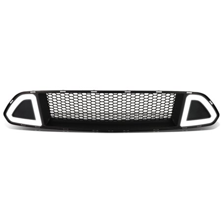 For 2015 to 2017 Ford Mustang Honeycomb Mesh Front Bumper Upper Grille w / LED Daytime Running Light 16