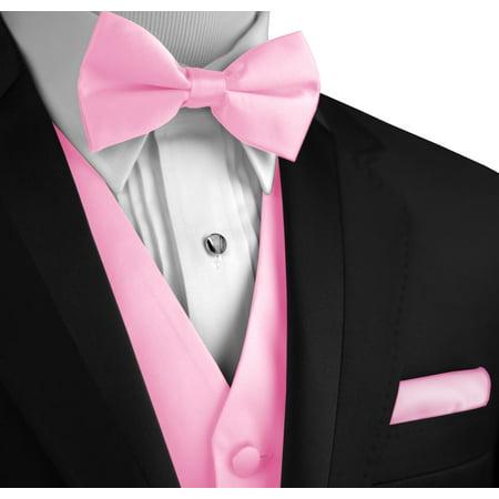 Italian Design, Men's Formal Tuxedo Vest, Bow-Tie & Hankie Set for Prom, Wedding, Cruise in Pink - Pink Tuxedo