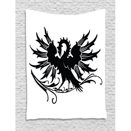 Celtic Tapestry, Abstract Fantasy Animal Medieval Eagle Symbol for Culture and Tattoo Design, Wall Hanging for Bedroom Living Room Dorm Decor, 40W X 60L Inches, Black and White, by Ambesonne Celtic Designs And Symbols