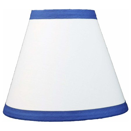 Urbanest White Cotton With Blue Trim Chandelier Lamp Shade, (Spa Blue Lamp Shade)