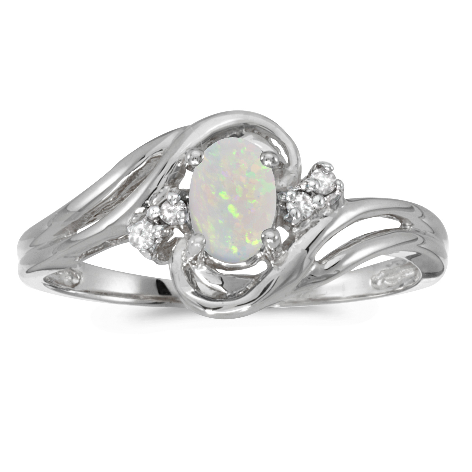14k White Gold Oval Opal And Diamond Ring by