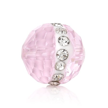 Sexy Sparkles 5 Pc Round Crystal Glass Spacer Beads Pink Faceted with Clear Rhinestones -