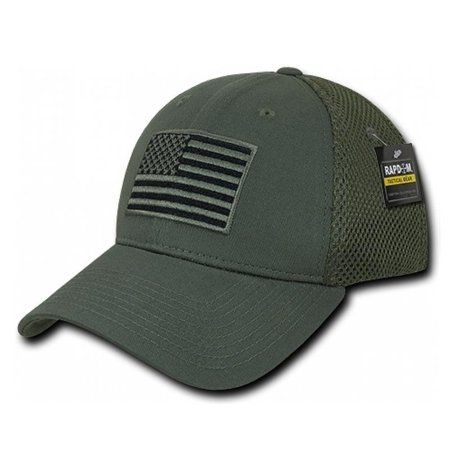 USA American Flag Hat Air Mesh Olive Tactical Operator Flex Fit Embroidered Cap