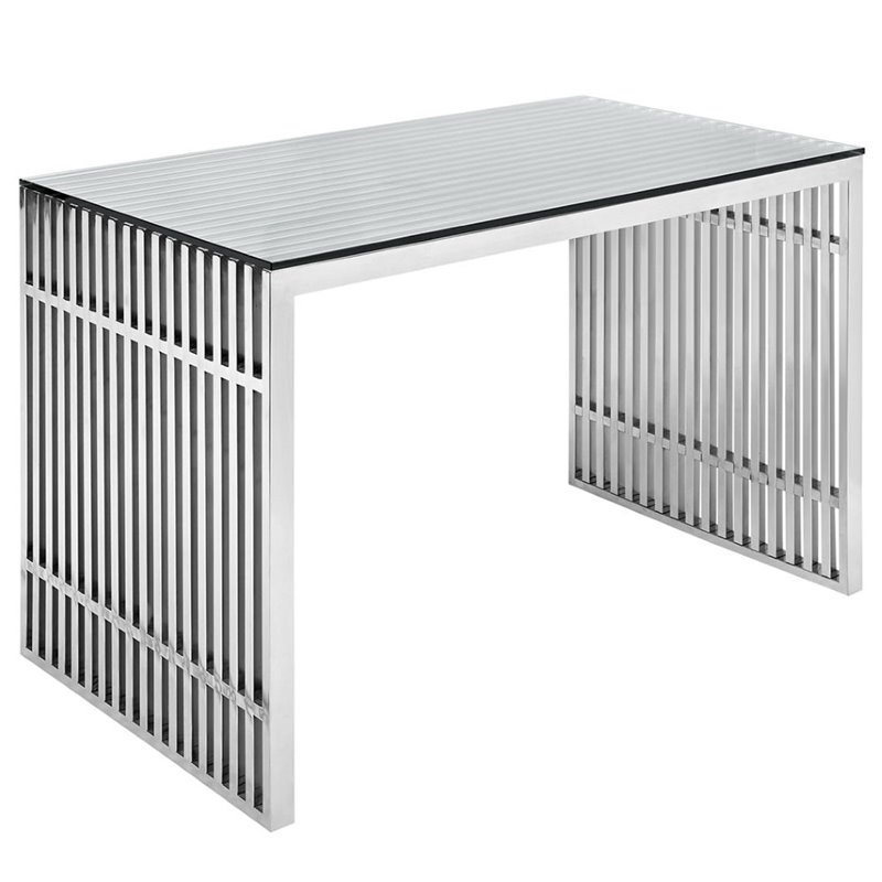 Hawthorne Collection Steel Office Desk in Silver